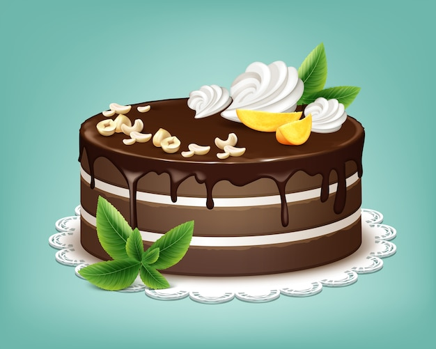 Vector whole chocolate puff cake with icing, whipped cream, nuts, fruits and mint on white lace napkin isolated