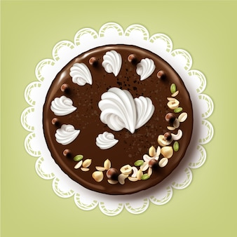Vector whole chocolate puff cake with icing, whipped cream and nuts on white lace napkin top view isolated
