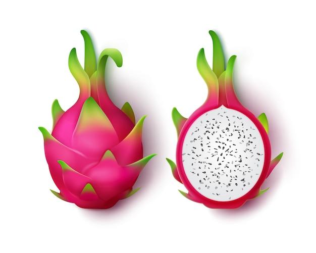 Frutto di drago rosa vivido intero e affettato di vettore isolato su priorità bassa bianca