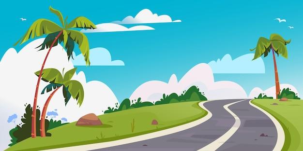 Вектор извилистая дорога в окружении пальм на фоне красивых белых облаков