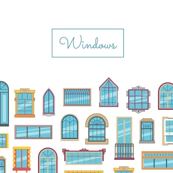 Vector window flat set with title