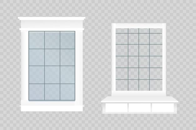 벽돌 벽에 유리와 나무 프레임이 있는 벡터 창. 디자인 요소 외부 만화 외관 집입니다. 도시 거리 벽 외관 그림