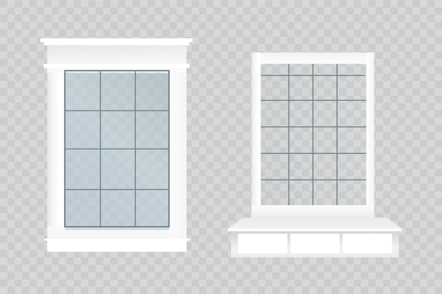Vector window with glass and wooden frame on a brick wall. cartoon facade house outside design element. city street wall exterior illustration