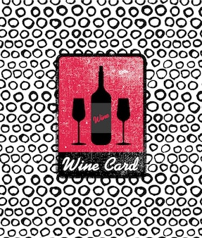 Vector wine card icon, logo, menu cover. wine list cover for cage, bar, restaurant