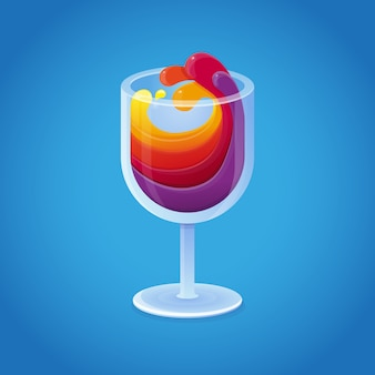 Vector wine glass with bright rainbow drinks