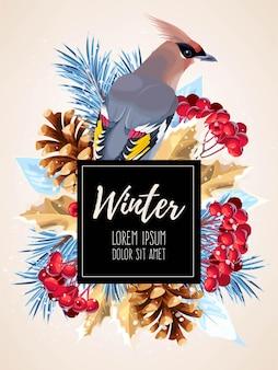 Векторная зимняя открытка с соснами и птицей