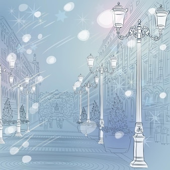 Вектор зимний рождественский городской пейзаж, проспект со старинными зданиями