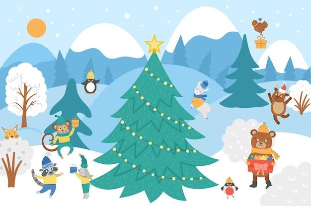 귀여운 동물, 전나무, 눈이 있는 벡터 겨울 숲 배경. 곰, 다람쥐, 원숭이, 새와 함께 재미있는 삼림 크리스마스 장면. 어린이를 위한 평평한 새해 풍경 그림입니다.