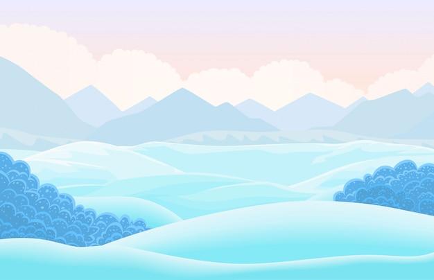 Вектор зимний горизонтальный пейзаж.