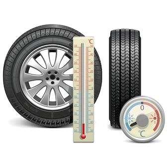 벡터 겨울 타이어와 온도계