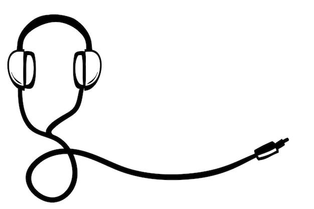 コピーまたはネガティブエリア付きのベクターワイヤードヘッドフォン、テキスト配置用、シンプルな落書き手描きスケッチ