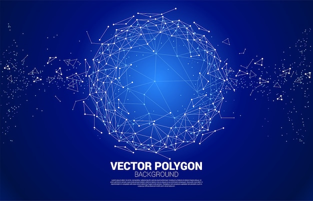 Vector wireframe polygonal lines connect dot geometric sphere  background.