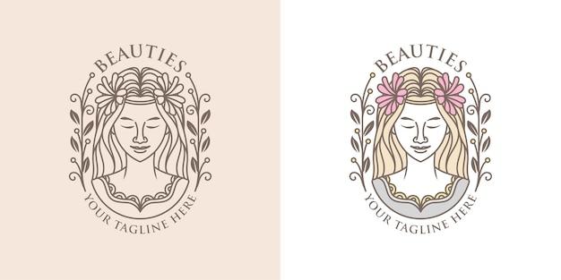 ベクトル女性の美しさのロゴのテンプレート