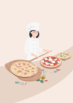 Vector woman cook and italian pizzas