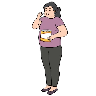 Vector of woman eating snack