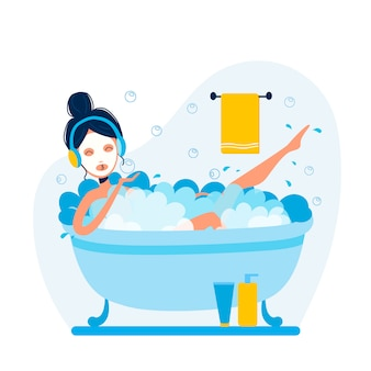 Vector woman is taking bath and listening to music in headphones.