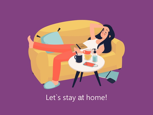 Vector woman lies on the couch with book at home and text stay at home!
