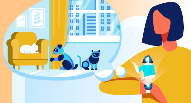 Vector woman использует умные часы robotic pets control