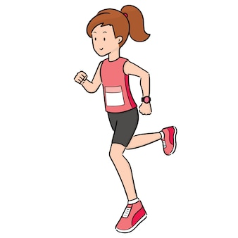 Vector of woman running