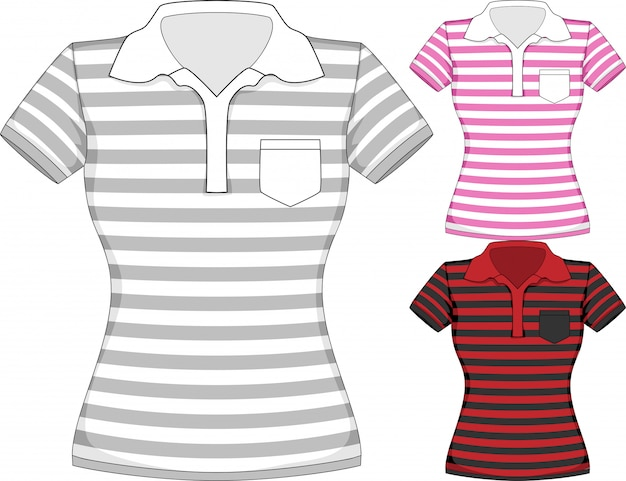 Vector womens short sleeve t-shirt design templates in three colors with stripes