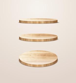 Векторный макет презентации деревянного подиума, дизайн фона пьедестала для показа косметической продукции