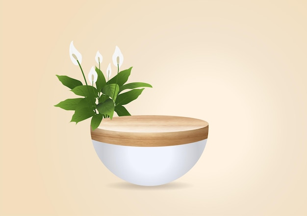 Vector wood podium on wall room background, presentation mock up, show cosmetic product display stage pedestal design