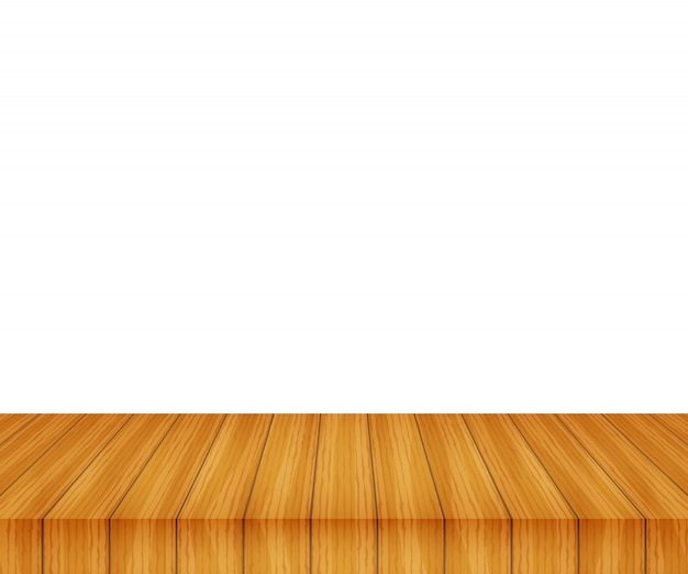 Vector wood table top on white background