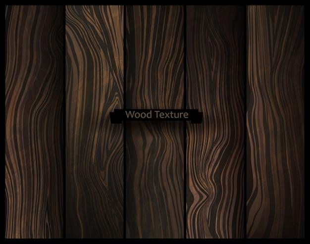 Векторные текстуры древесины. естественный темный деревянный фон.