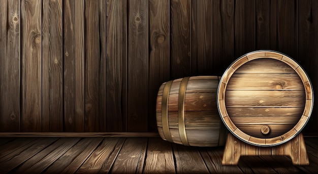 Vector wooden barrel for wine or beer in cellar