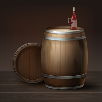 Vector wooden barrels of grapes wine with bottle and glass isolated on brown background