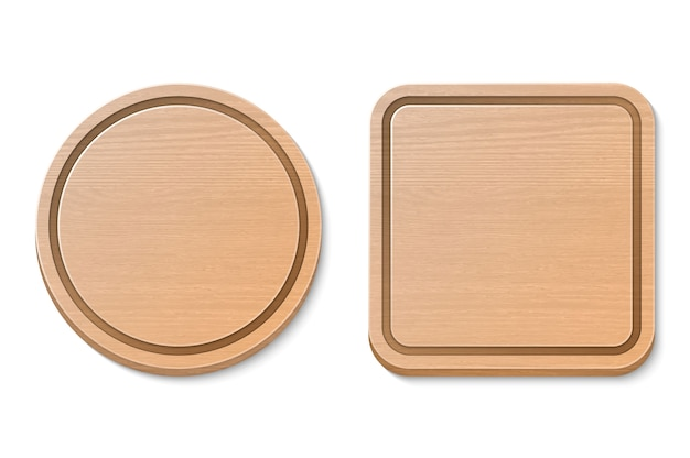 Vector wooden brown cutting board set isolated. realistic illustration. round and square.