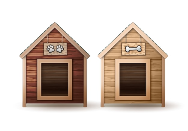 Vector wooden dog houses different colors isolated on white background