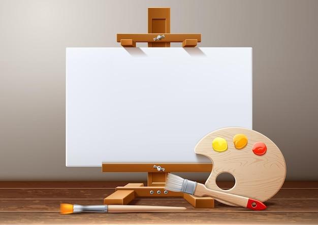 Vector wooden easel canvas paint palette brush
