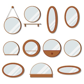 Vector wooden frames mirrors set of round shape.