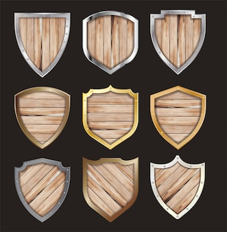 Vector wooden and metal shield protected steel icon sign