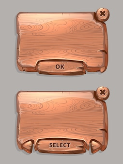 Vector wooden panels for game ui cartoon style. texture interface, select and ok button illustration