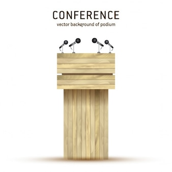 Vector wooden podium tribune rostrum stand with microphones