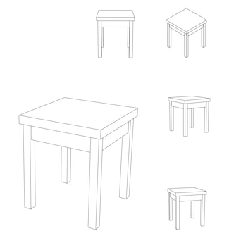 Vector wooden square stool chair, outline illustration with different views