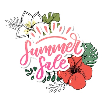 Vector word sale .letters made of flowers and leaves summer sale