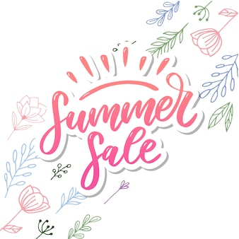 Vector word summer sale. letters made of flowers and leaves summer sale holiday