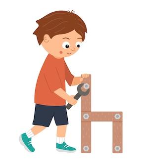 ベクトル働く男の子。ドライバーで木製の椅子にネジをねじ込む平らな面白い子供のキャラクター。クラフトレッスンイラスト。ツールの使い方を学ぶ子供の概念。