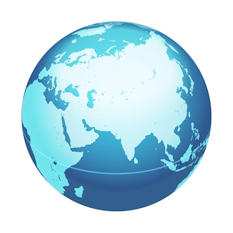 Vector world globe map india middle east asia centered map blue planet sphere icon isolated on a white background