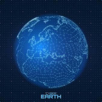 数字と線で構成されたベクトル世界地図。抽象的な地球の接続の図。未来の球形マップ。ヨーロッパ中心。技術的な惑星の概念。国際データ通信
