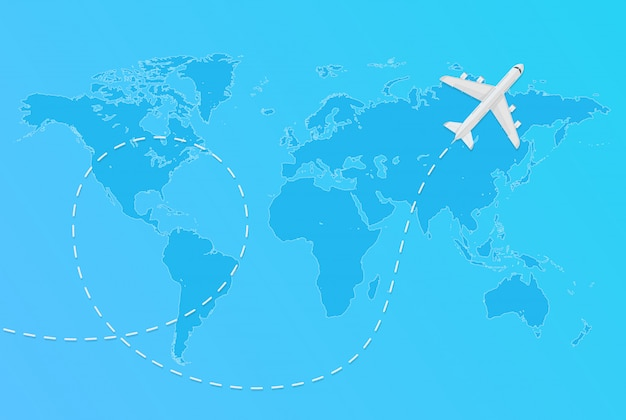 Vector world map with flying airplane and dashed line aircraft travel concept.