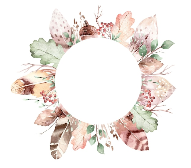 Vector wreath of autumn leaves feathers acorns berries feathers and branch in watercolor style