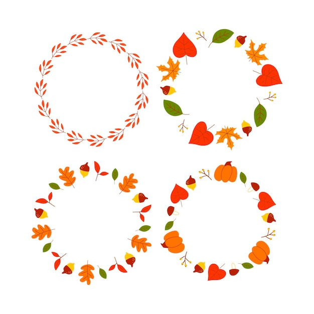 Vector wreath of autumn leaves and fruit in watercolor style beautiful round wreath of yellow and re...