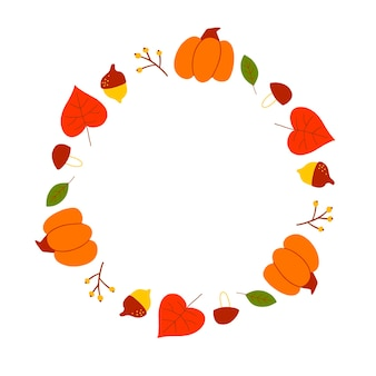Vector wreath of autumn leaves and fruit in watercolor style. beautiful round wreath of yellow