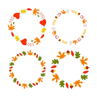 Vector wreath of autumn leaves and fruit in watercolor style beautiful round wreath of yellow