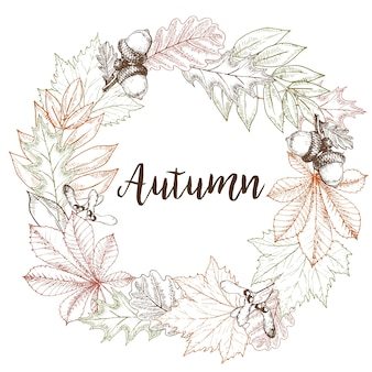 Vector wreath of autumn leaves