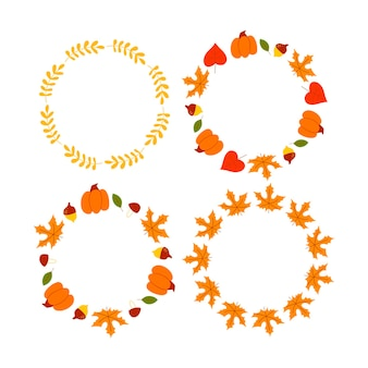 Векторный венок из осенних листьев и фруктов в стиле акварели красивый круглый венок желтого и ре ...